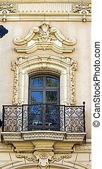 Old  balcony on a historic building,San Diego