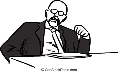 old bald businessman or manager sitting on his desk vector illustration sketch hand drawn with black lines isolated on white background