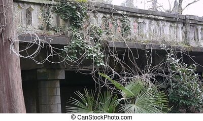Old Balustrade with Barbed Wire 3 - Old Balustrade with...
