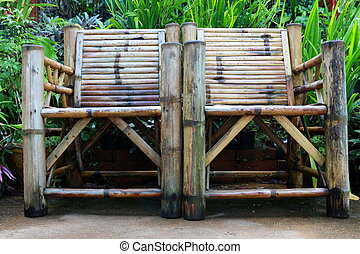 Old bamboo chair close up tropical style