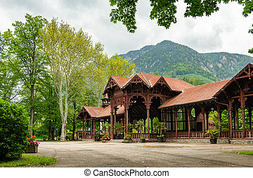 Old bandstand in Reichenau on a cloudy day in summer
