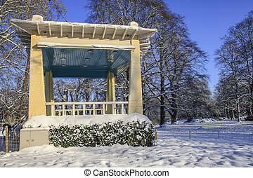Old bandstand in snow