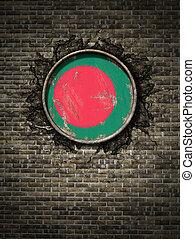 Old Bangladesh flag in brick wall