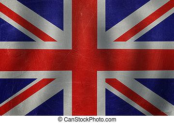 Old banner on the UK flag background.