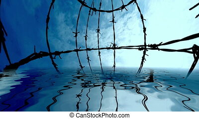 Old barbed wire fence reflection in the water