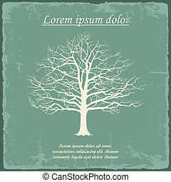 Old bare tree on vintage paper. Vector illustration