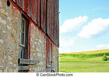 Old Barn and Cornfield