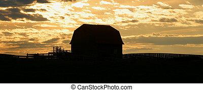 old barn at sunrise