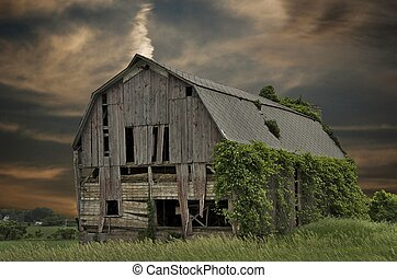 old barn at sunset