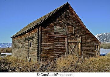 Old Barn Below Mountain