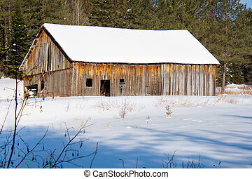 Old barn in a field