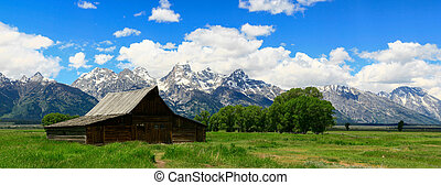 An old barn in Jackson Hole in Wyoming with the Grand Tetons in the Background.