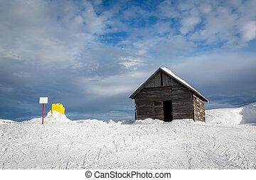 Old Barn in Madonna di Campiglio Ski Resort, Italian Alps, Italy