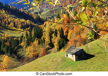Old barn in mountain village