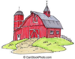 old barn - just an old red barn
