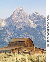 Barn on Mormon Row with the Cathedral Group of the Tetons behind