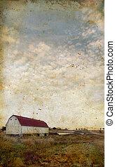 Barn on a grunge background