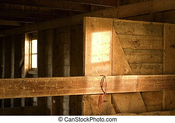 Old Barn - The interior of an old barn in Saskatchewan,...