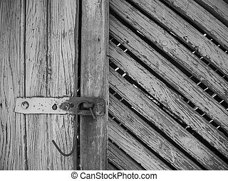 old barn rusted latch black white