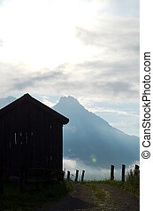 Old Barn with Mountains