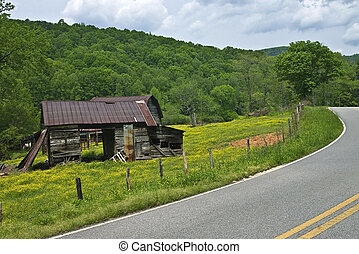 Old Barns on a Mountain Road