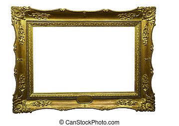 old baroque gilded frame on white