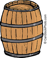 Old wooden barrel on the white background