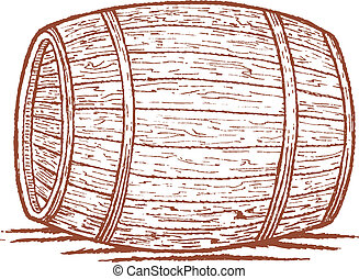 Old Barrel - Pen and ink style illustration of an old...