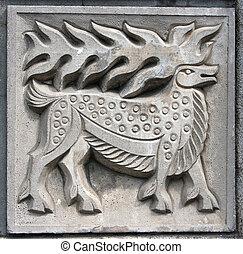 old bas-relief of fairytale elk - old bas-relief of...