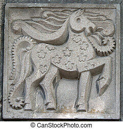 old bas-relief of fairytale horse