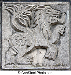 old bas-relief of fairytale lion - old bas-relief of...