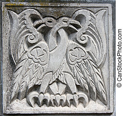 old bas-relief of fairytale two eagles - old bas-relief of...
