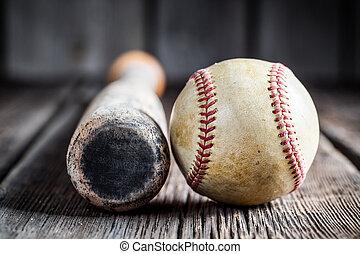 Old baseball bat and Ball