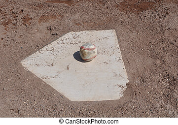Baseball Close Up on Home Plate