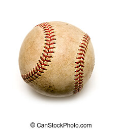 Old baseball - Old worn baseball on white background