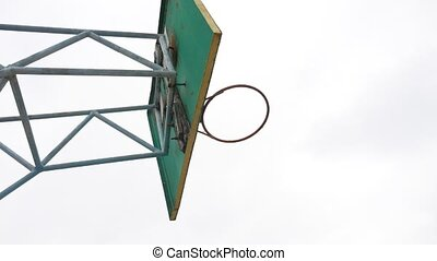 old basketball hoop outdoors rusty iron ball sport enters...