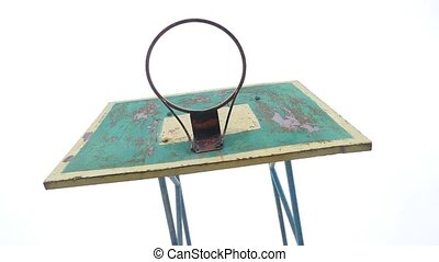 old basketball hoop outdoors rusty sport iron ball enters...