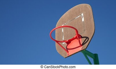 old basketball hoop, sport street basketball throw the ball in the basket
