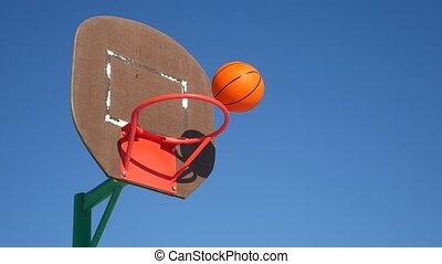 old basketball hoop, street basketball throw sport the ball in the basket
