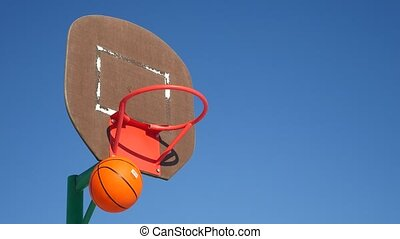 old basketball hoop, street basketball throw the ball sport in the basket