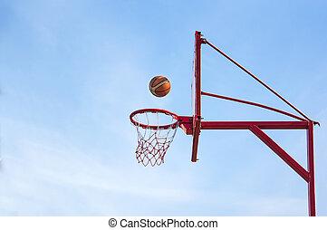 old basketball hoop, street basketball throw sport the ball ...