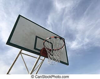 Old basketball hoop under view with blue sky background