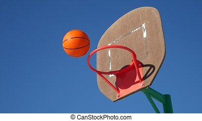 old basketball sport hoop, street basketball throw the ball in the basket