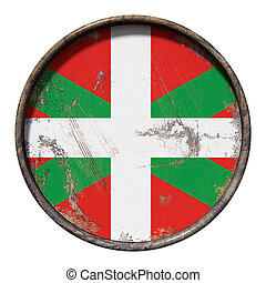 Old Basque Country flag - 3d rendering of a Basque Country...