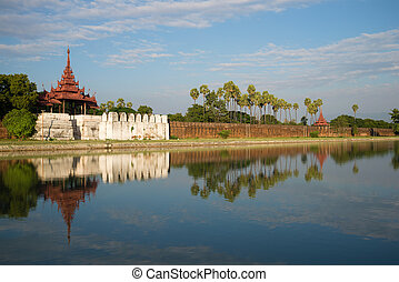Old Bastion and a defensive wall of the Old city. Mandalay, Myanmar