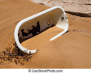 Old bath in the sand