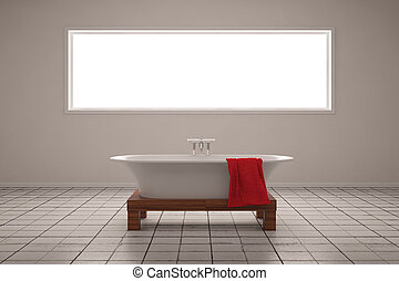 Old bathing room with square window and red towel