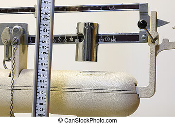 old bathroom scale with meter for measuring height i