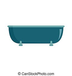Old bathtube icon, flat style