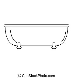 Old bathtube icon, outline style